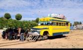 Bolivia Dodge Ferrobus (railcar) made in 50`s stopped for few minutes at the small village of Cliza